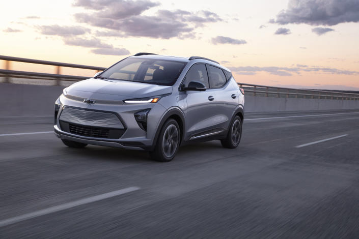 This photo provided by Chevrolet shows the Chevrolet Bolt EUV, a new electric vehicle based on the smaller Bolt hatchback. The Bolt EUV is more spacious than its sibling, but the real reason to upgrade is the hands-free Super Cruise system, which isn't available on the standard Bolt. (Courtesy of Chevrolet via AP)