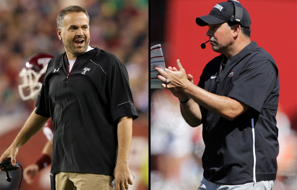 Baylor's Matt Rhule (L) and Ohio State's Ryan Day remain undefeated this college football season. (Getty)