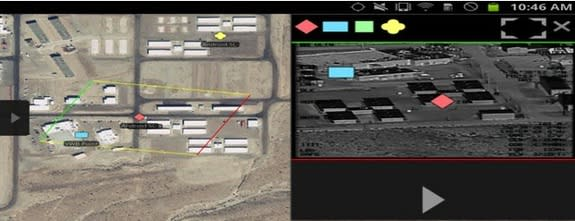 A screen shot from the Android Terminal Assault Kit (ATAK), demonstrating the app's ability to help troops visualize an area and mark points of interest.