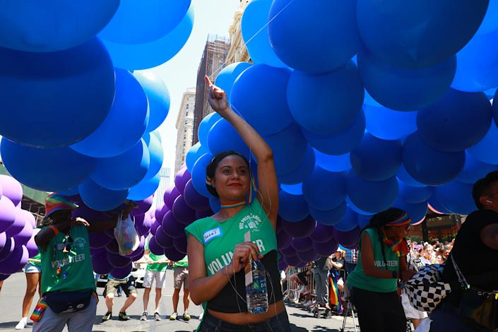 The Heritage of Pride march the N.Y.C. Pride Parade in New York on June 30, 2019. (Photo: Gordon Donovan/Yahoo News)