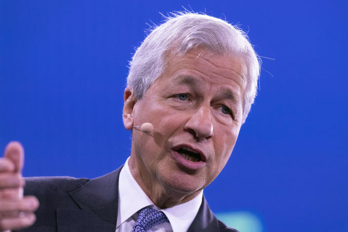 Jamie Dimon, Chairman and CEO of JPMorgan Chase, speaks at the Bloomberg Global Business Forum, Wednesday, Sept. 25, 2019 in New York. (AP Photo/Mark Lennihan)