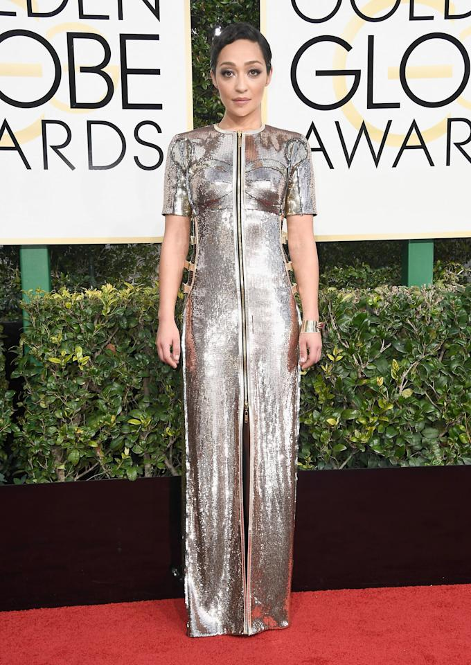 <p>Ruth Negga in a Louis Vuitton dress and a Fred Leighton cuff featuring responsibly sourced Gemfields rubies in 2017.</p>