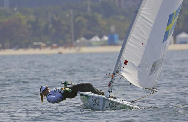 2016 Rio Olympics - Sailing - Final - Women's One Person Dinghy - Laser Radial - Medal Race - Marina de Gloria - Rio de Janeiro, Brazil - 16/08/2016. Josefin Olsson (SWE) of Sweden competes. REUTERS/Brian Snyder FOR EDITORIAL USE ONLY. NOT FOR SALE FOR MARKETING OR ADVERTISING CAMPAIGNS.