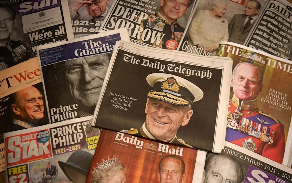 prince philip death newspapers reaction headlines uk