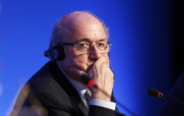 FIFA President Joseph Blatter listens to a question during a press conference one day before the draw for the 2014 soccer World Cup in Costa do Sauipe near Salvador, Brazil, Thursday, Dec. 5, 2013. (AP Photo/Victor Caivano)