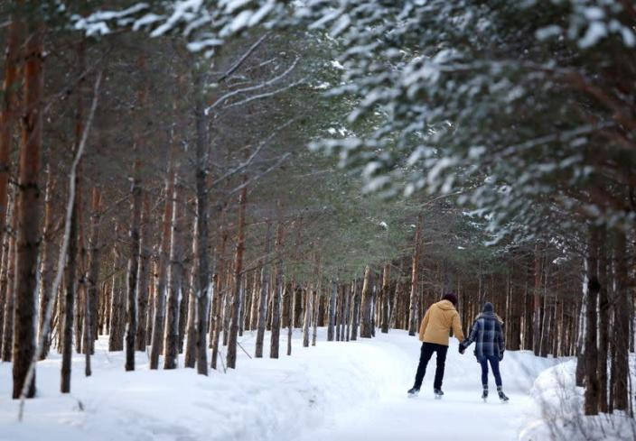 FILE PHOTO: A couple skates at Domaine de la Foret Perdu or the Lost Forest, a 15km weaving and zambonied forest trail made for skating in Notre-Dame-du-Mont-Carmel, Quebec