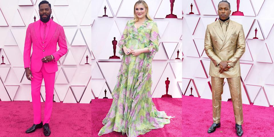 <p>Award season comes to a close tonight as the Oscars take place at the Dolby Theatre in Los Angeles to celebrate some of the best films of the year. See what some of your favorite celebrities, from Leslie Odom Jr. to Emerald Fennell, are wearing to the ceremony (yes, there's an actual red carpet this time around!), ahead.</p>