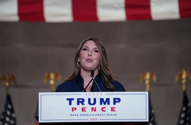 Republican National Committee Chairman Ronna McDaniel speaks to the 2020 Republican National Convention in a live address from Washington