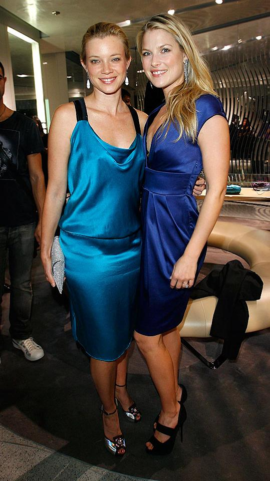 "Amy Smart and Ali Larter rock their cute blue frocks. Donato Sardella/<a href=""http://www.wireimage.com"" target=""new"">WireImage.com</a> - November 12, 2008"