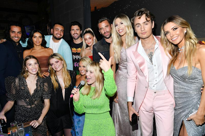 "LOS ANGELES, CALIFORNIA - JUNE 19: The cast of ""The Hills: New Beginnings"" Justin Bobby Brescia, Jennifer Delgado, Frankie Delgado, Brody Jenner, Kaitlynn Carter Jenner, Jason Wahler, Ashley Wahler, Brandon Thomas Lee, Audrina Patridge, Whitney Port, Mischa Barton, Stephanie Pratt and singer Natasha Bedingfield attend the party for the premiere of MTV's ""The Hills: New Beginnings"" at Liaison on June 19, 2019 in Los Angeles, California. (Photo by Amy Sussman/Getty Images)"