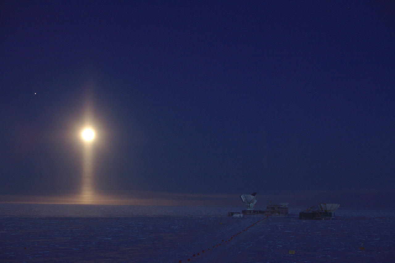 <p>Ice crystals suspended in the atmosphere create a rare optical phenomenon: a light pillar underneath the Moon. Daniel Michalik which was named as the winner in the Astronomy category. (PA) </p>