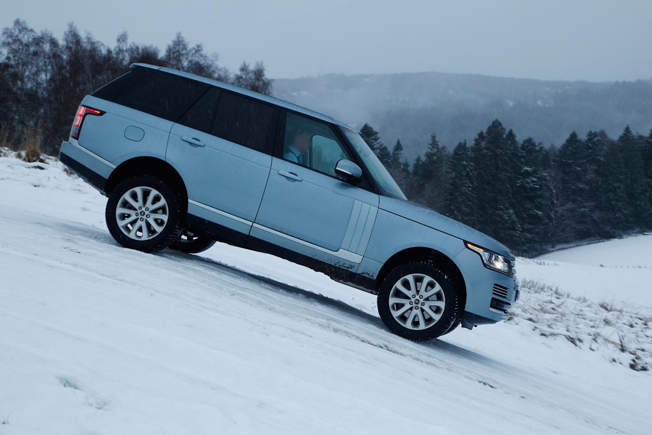 Range Rover: 	It's the new Range Rover's job to look good everywhere, from deserts to driveways, and though the press drives off-road were the tamest I've ever seen, and the car slid about on its fat tyres, it should still cope with anything owners throw at it. Lower weight aluminium body means the 3-litre diesel's the motor to go for. 'My' car averaged 23.1mpg. Prices from £71,295 (Range Rover)