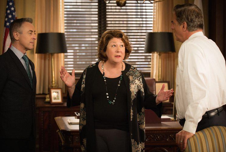 Alan Cumming as Eli Gold, Margo Martindale as Ruth Eastman and Chris Noth as Peter Florrick (Photo by Paul Sarkis/CBS via Getty Images)