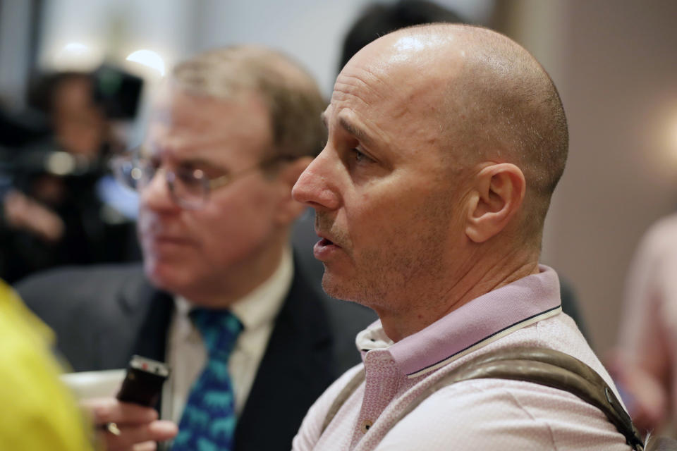 New York Yankees general manager Brian Cashman speaks at a media availability during the Major League Baseball general managers annual meetings, Wednesday, Nov. 13, 2019, in Scottsdale, Ariz. (AP Photo/Matt York)