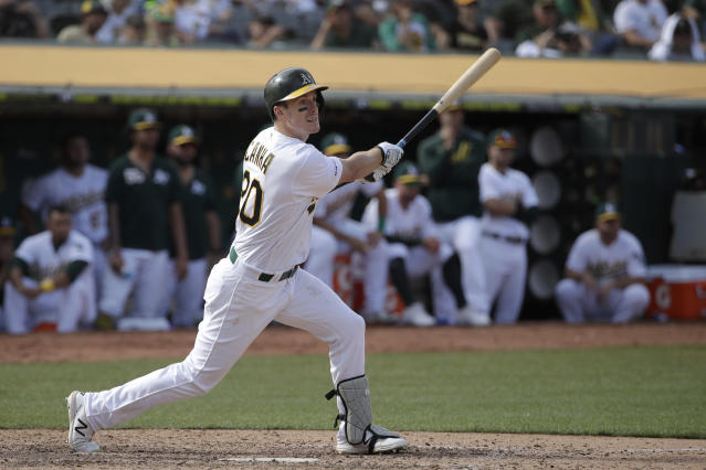 Oakland Athletics' Mark Canha hits a double to score Jurickson Profar during the 11th inning of a baseball game against the Kansas City Royals in Oakland, Calif., Wednesday, Sept. 18, 2019. The Athletics defeated the Kansas City Royals 1-0 in 11 innings. (AP Photo/Jeff Chiu)