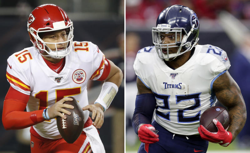 FILE - At left, in a Dec. 22, 2019, file photo, Kansas City Chiefs quarterback Patrick Mahomes scrambles against the Chicago Bears in the first half of an NFL football game in Chicago. At right, in a Dec. 29, 2019, file photo,  Tennessee Titans running back Derrick Henry (22) rushes against the Houston Texans during the first half of an NFL football game in Houston. Derrick Henry has just about carried Tennessee's offense to the AFC championship game. The Titans have been stellar on defense as well. Now they take on Patrick Mahomes and the potent Kansas City Chiefs for a trip to the Super Bowl. (AP Photo/File)