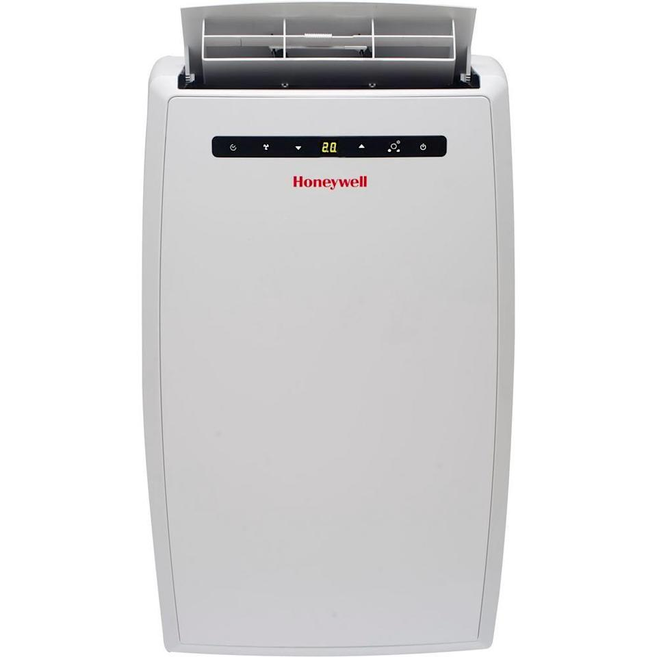 """<p><strong>Honeywell</strong></p><p>homedepot.com</p><p><strong>$459.99</strong></p><p><a href=""""https://go.redirectingat.com?id=74968X1596630&url=https%3A%2F%2Fwww.homedepot.com%2Fp%2FHoneywell-10-000-BTU-115-Volt-Portable-Air-Conditioner-with-Dehumidifier-and-Remote-Control-in-White-MN10CESWW%2F204170295&sref=https%3A%2F%2Fwww.oprahmag.com%2Flife%2Fg32869051%2Fbest-portable-air-conditioners%2F"""" rel=""""nofollow noopener"""" target=""""_blank"""" data-ylk=""""slk:SHOP NOW"""" class=""""link rapid-noclick-resp"""">SHOP NOW</a></p><p>With the ability to cool rooms up to 450 square feet, this self-evaporating unit is relatively quiet, has a dehumidifier, and can be easily wheeled from one room to another. </p>"""