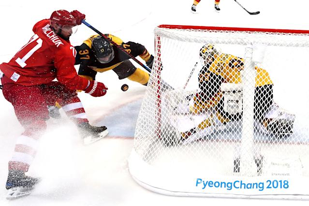 <p>Ilya Kovalchuk #71 of Olympic Athlete from Russia attempts a shot against Danny Aus Den Birken #33 of Germany in the third period during the Men's Gold Medal Game on day sixteen of the PyeongChang 2018 Winter Olympic Games at Gangneung Hockey Centre on February 25, 2018 in Gangneung, South Korea. (Photo by Bruce Bennett/Getty Images) </p>