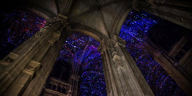 Surreal projections on the ceiling of this Paris church leave visitors seeing stars