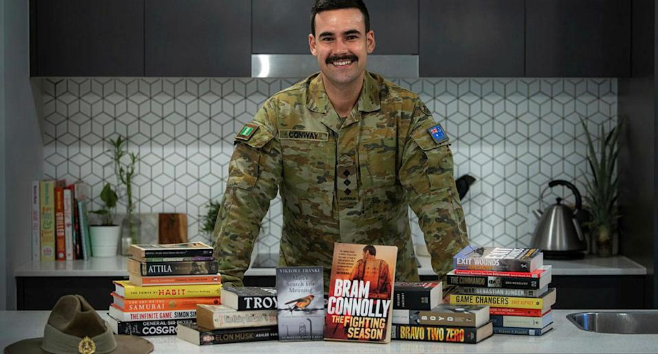 Australian Army Officer, Captain Dylan Conway founded Brothers n' Books while he was injured and unable to walk for over 14 months. Photo: ADF/Supplied