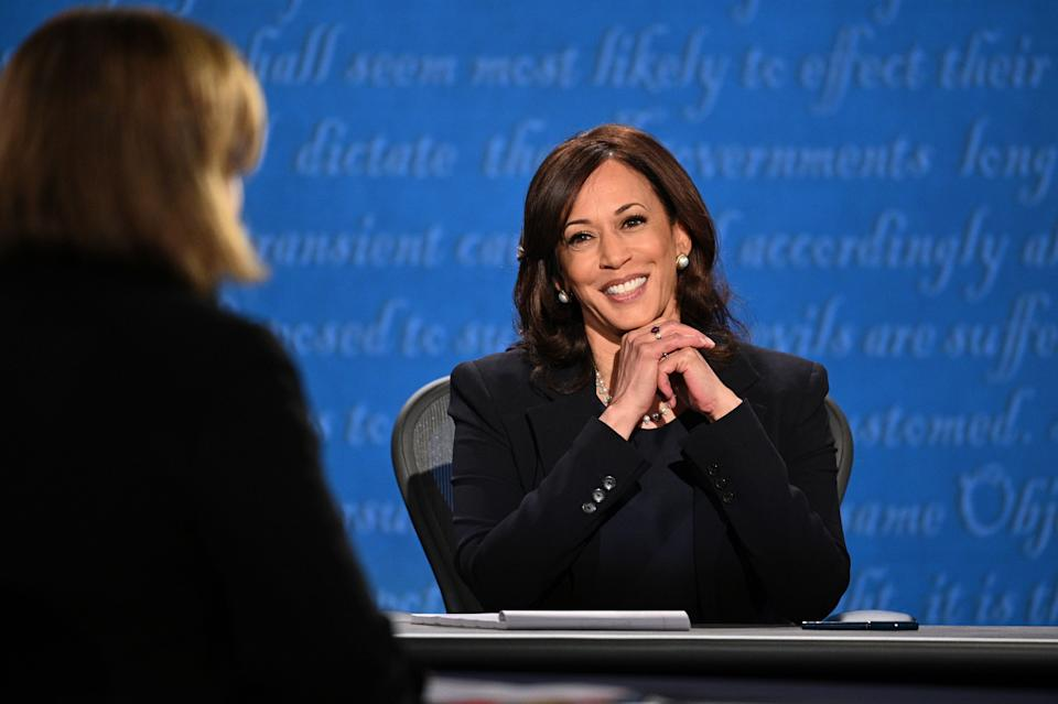 US Democratic vice presidential nominee and Senator from California, Kamala Harris smiles during the vice presidential debate in Kingsbury Hall at the University of Utah on October 7, 2020, in Salt Lake City, Utah. (Photo by Robyn Beck / AFP) (Photo by ROBYN BECK/AFP via Getty Images) (Photo: ROBYN BECK via Getty Images)