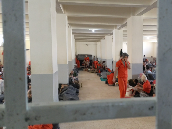 The medical hall at a prison for Isis fighters in Hassakeh, northern Syria. (Richard Hall/The Independent )