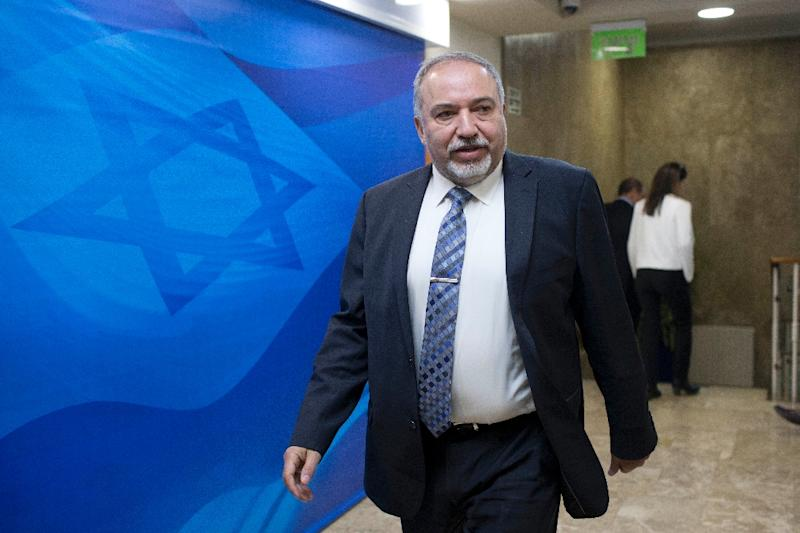 Israeli defense minister Avigdor Lieberman attends the weekly cabinet meeting at his office in Jerusalem, January 8, 2017