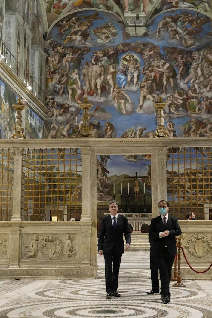 Secretary of State Antony J. Blinken, left, visits the Sistine Chapel ahead of his meeting with the pope