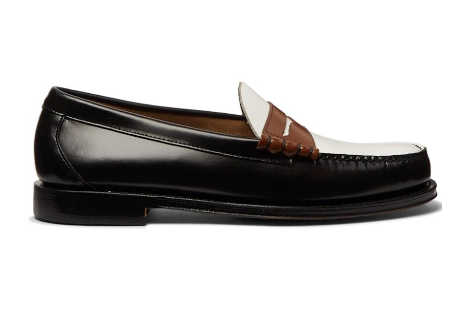 """The right loafers can be dressed-up and dressed-down, worn with or without socks, and only look better once broken in. Weejuns are it.<br> <br> <em>G.H. Bass & Co. Weejuns heritage """"Larson"""" color-block leather</em> $170, Mr Porter. <a href=""""https://www.mrporter.com/en-us/mens/product/gh-bass-co/shoes/loafers/weejuns-heritage-larson-colour-block-leather-penny-loafers/30049528927132714"""" rel=""""nofollow noopener"""" target=""""_blank"""" data-ylk=""""slk:Get it now!"""" class=""""link rapid-noclick-resp"""">Get it now!</a>"""