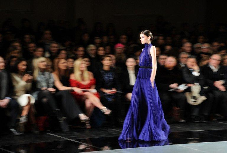 A model walks the runway during the Jason Wu fall 2013 fashion show during Fashion Week on February 8, 2013 in New York