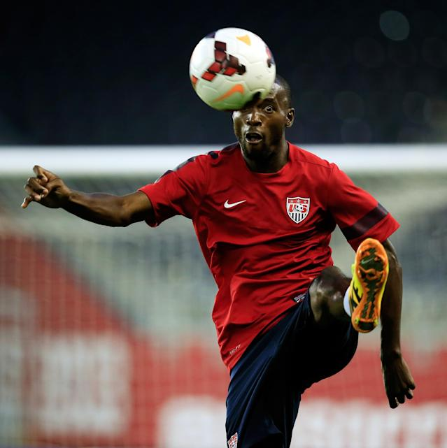 KANSAS CITY, KS - OCTOBER 09: Damarcus Beasley controls the ball during a training session for the US Men's National Soccer Team in advance of their game vs Jamaica at Sporting Park on October 9, 2013 in Kansas City, Kansas. (Photo by Jamie Squire/Getty Images)
