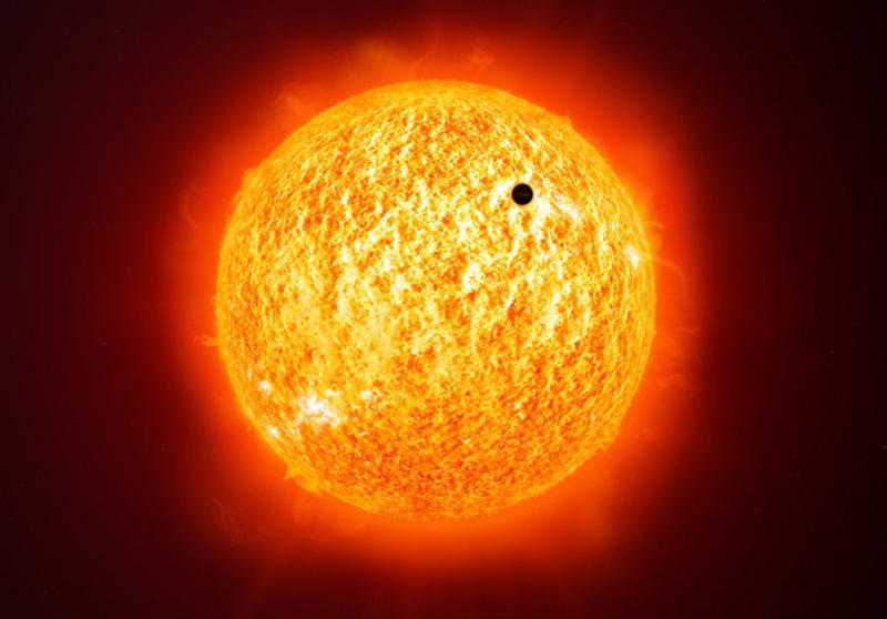 This is a public domain image showing the planet Mercury crossing our sun.