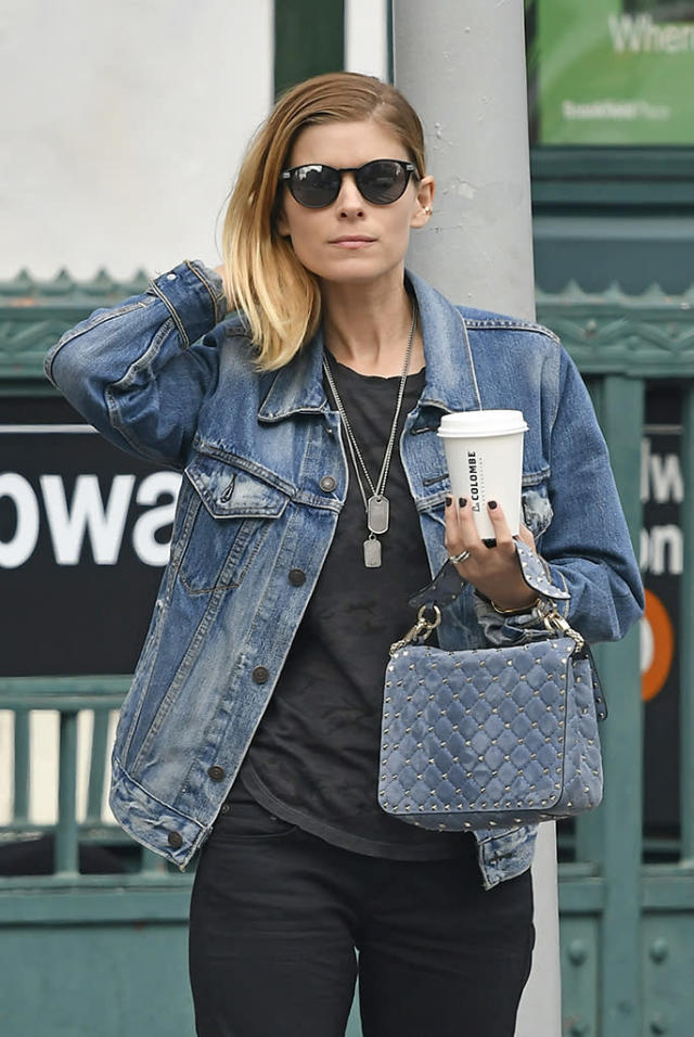 "<p>Before tying the knot with Jamie Bell in July, Mara showed off her <a href=""https://www.yahoo.com/celebrity/kate-mara-jamie-bell-married-183800573.html"" data-ylk=""slk:engagement ring;outcm:mb_qualified_link;_E:mb_qualified_link"" class=""link rapid-noclick-resp newsroom-embed-article"">engagement ring</a> (and her rock 'n' roll syle) while out on a coffee run in New York City's SoHo neighborhood. (Photo: Splash News) </p>"