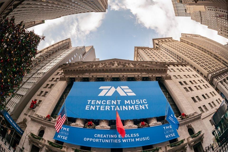 The New York Stock Exchange decorated for the first day of trading for the Chinese music-streaming platform Tencent Music Entertainment. Photo: Shutterstock