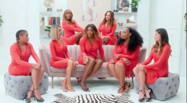 Serena Williams wears red twist front dress with six other women