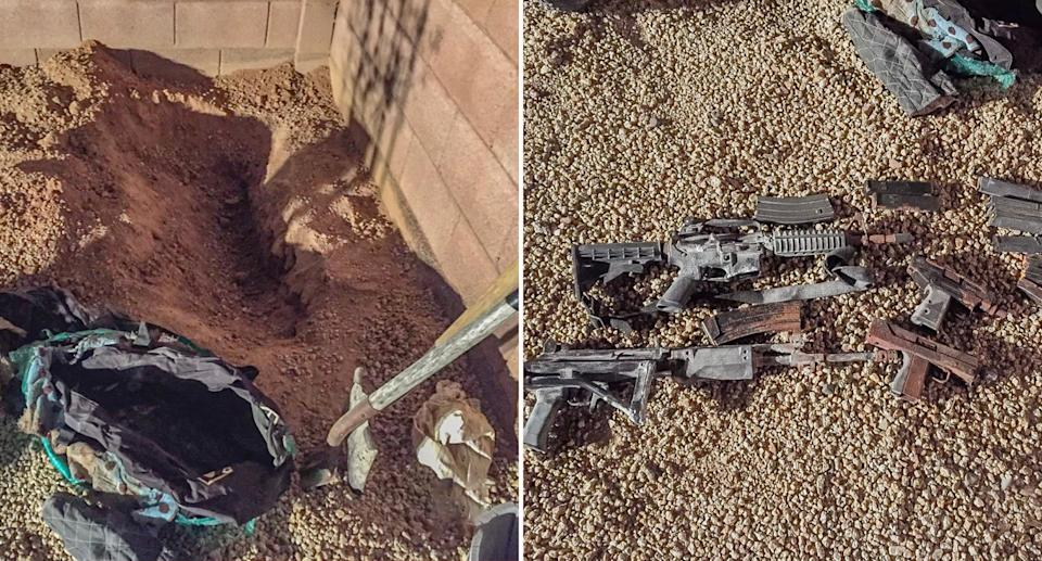 Images of a bag full of rusty guns found by a Phoenix family in their garden.