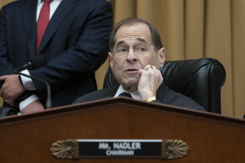 House Judiciary Committee Chair Jerrold Nadler waits to start a hearing on the Mueller report without witness Attorney General William Barr who refused to appear, on Capitol Hill in Washington, Thursday, May 2, 2019. The House Judiciary Committee is threatening to hold William Barr in contempt if he does not provide the full, unredacted Mueller report. | J. Scott Applewhite—AP