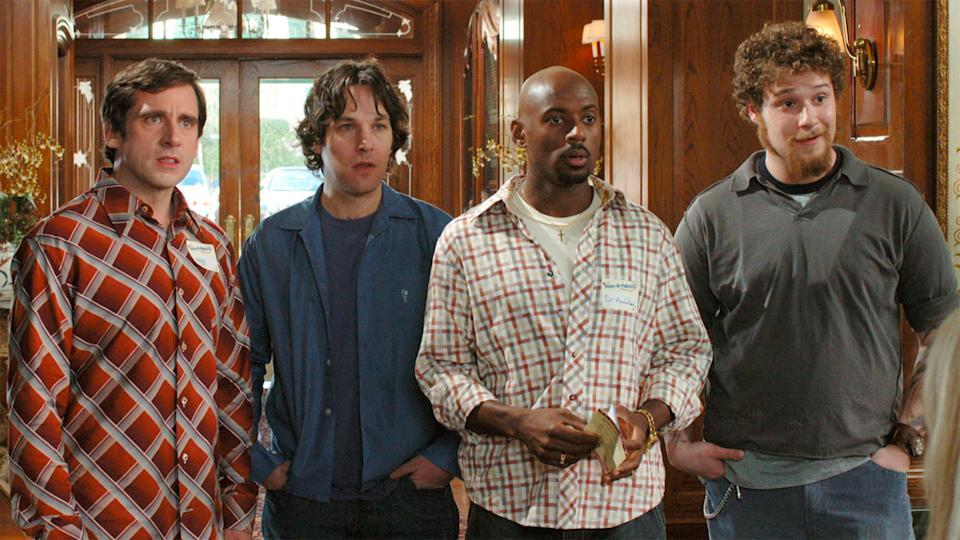 Steve Carell, Paul Rudd, Romany Malco and Seth Rogen in <i>The 40-Year-Old Virgin</i>. (Universal Pictures)