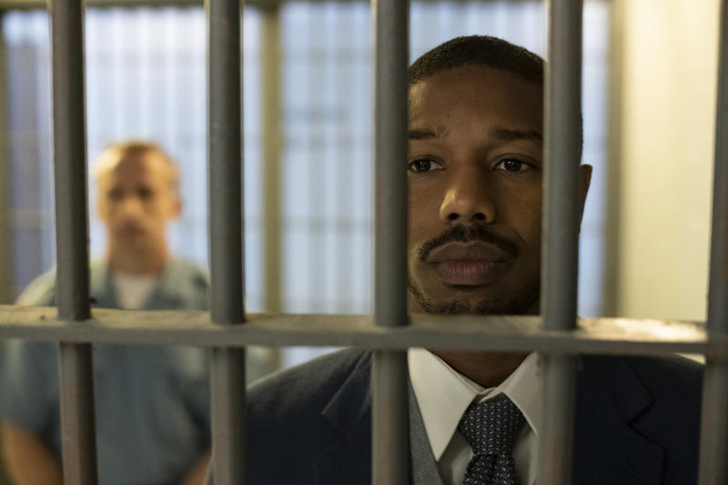"This image released by Warner Bros Pictures shows Michael B. Jordan in a scene from ""Just Mercy."" (Jake Netter/Warner Bros. Pictures via AP)"