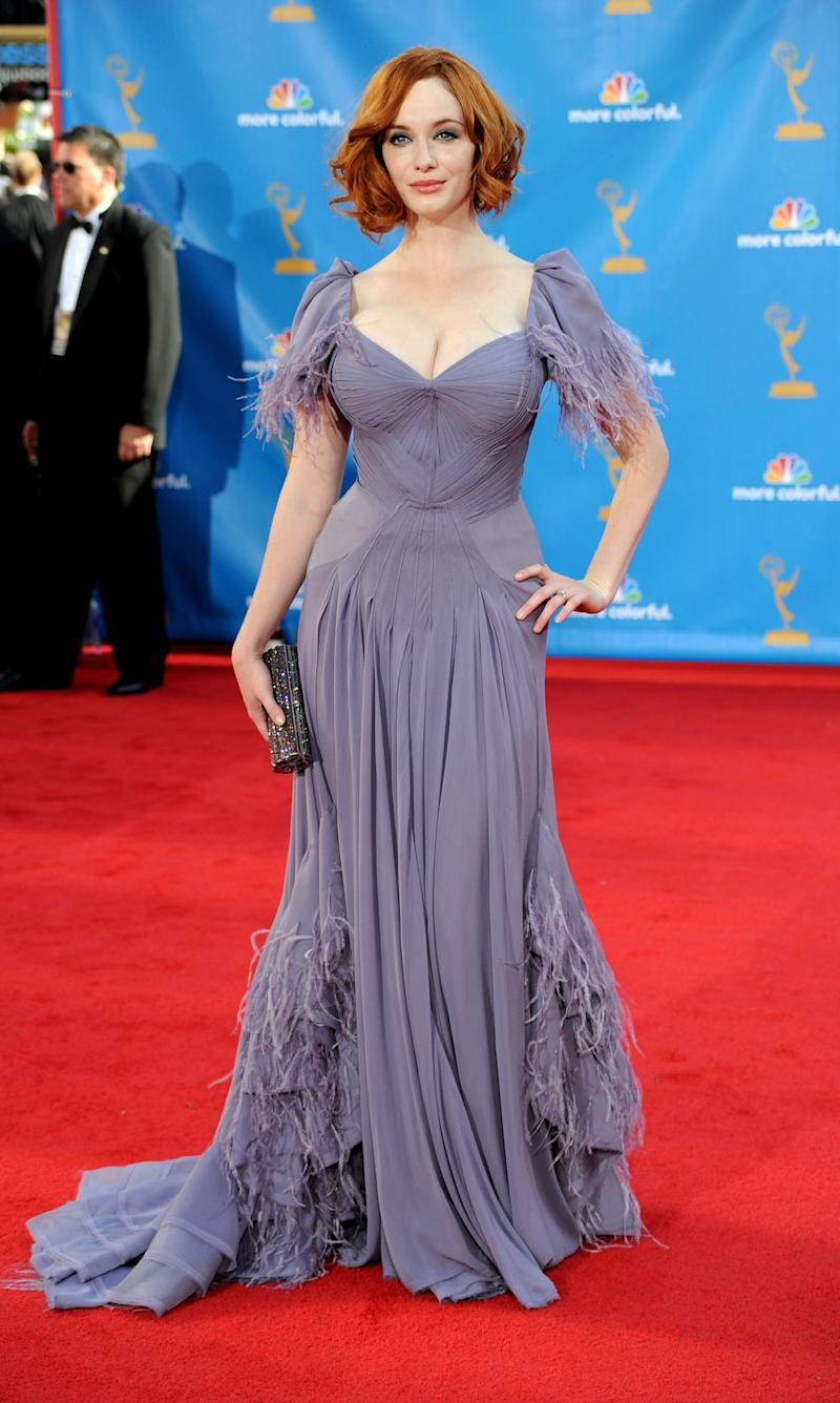 Christina Hendricks, in Zac Posen sweetheart neckline gown, arrives at the 62nd Annual Primetime Emmy Awards held at the Nokia Theatre L.A. Live on August 29, 2010 in Los Angeles, California.