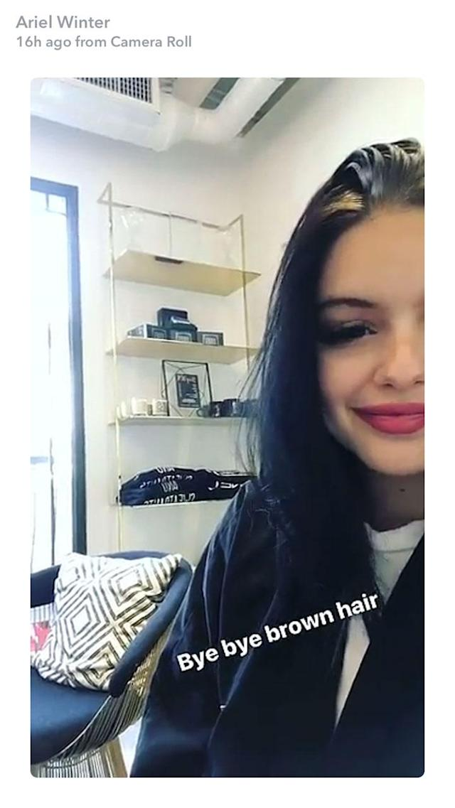 A beautiful before picture of Ariel Winter. (Photo: Ariel Winter via Snapchat)