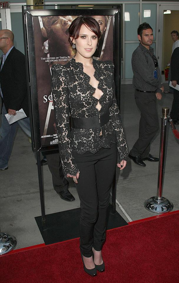 """<a href=""""http://movies.yahoo.com/movie/contributor/1800260809"""">Rumer Willis</a> at the Los Angeles premiere of <a href=""""http://movies.yahoo.com/movie/1810046336/info"""">Sorority Row</a> - 09/03/2009"""