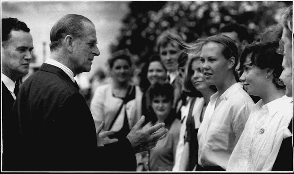 Duke of Edinburgh meet the recipients of Gold Awards of the Duke of Edinburgh Award. Philip's death confirmed by Palace