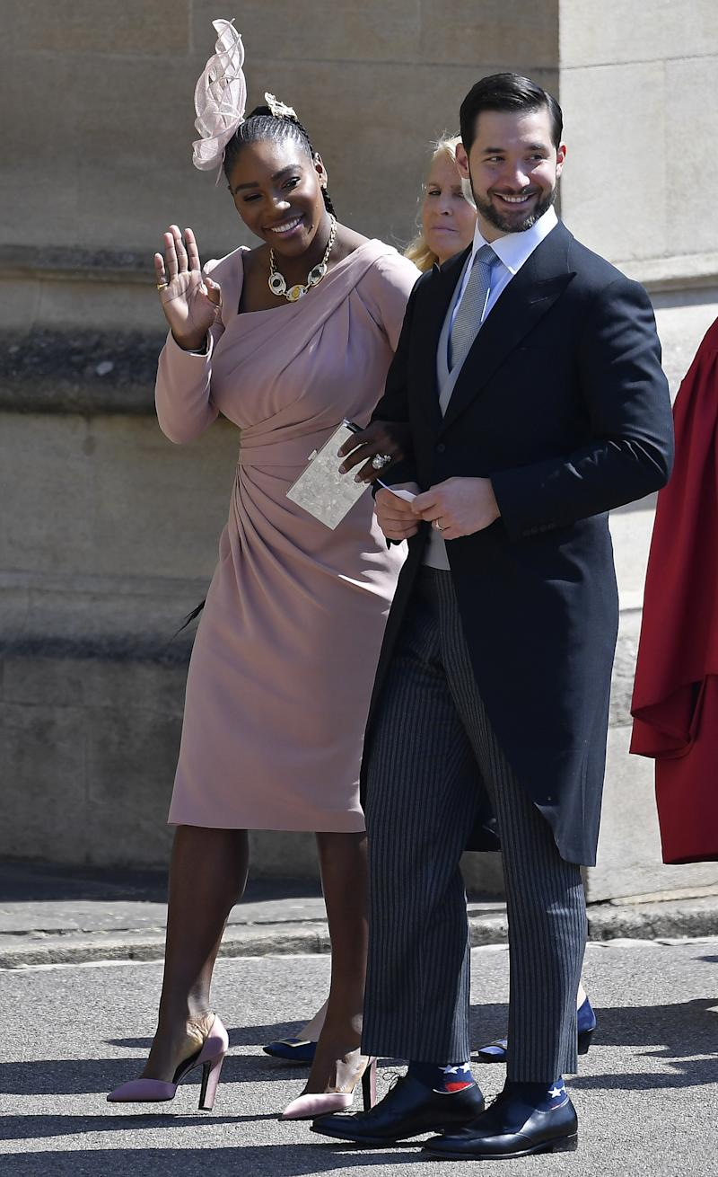 Serena Williams, in Versace, arrives at St George's Chapel at Windsor Castle before the wedding of Prince Harry to Meghan Markle on May 19, 2018 in Windsor, England.