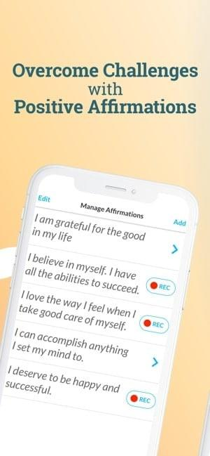 Screenshot of the ThinkUp app showing positive affirmations