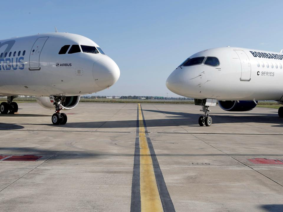Airbus and Bombardier aircraft.