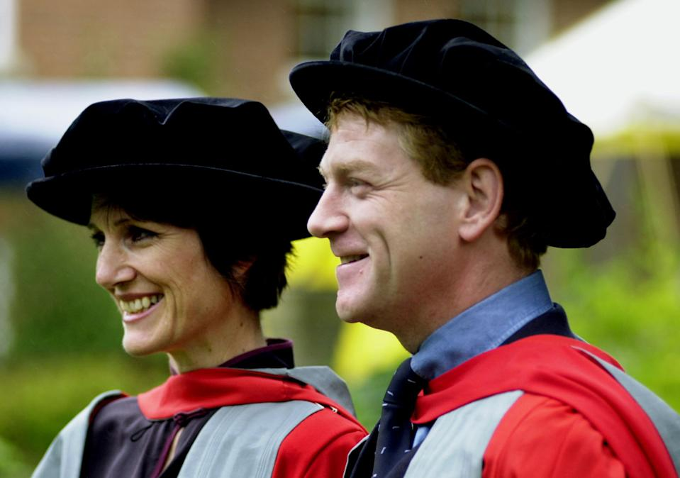 Actors Kenneth Branagh (right) and Harriet Walter arrive at the Shakespeare Institute at Stratford-on-Avon, Warwickshire, to receive their honorary degree from Birmingham University. The actors were becoming honorary Doctors of Letters. * for their work promoting the plays of William Shakespeare. (Photo by PA Images via Getty Images)