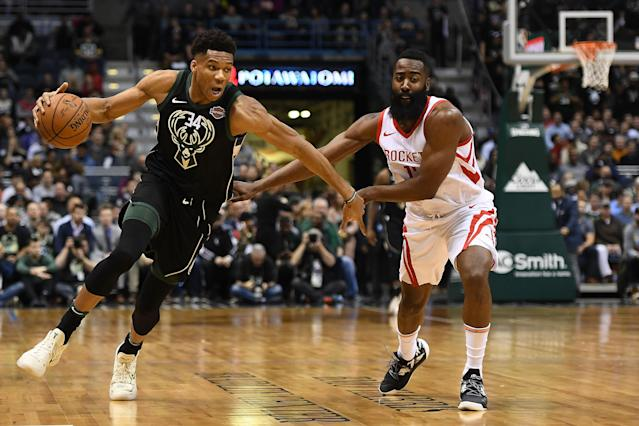 "<a class=""link rapid-noclick-resp"" href=""/nba/players/5185/"" data-ylk=""slk:Giannis Antetokounmpo"">Giannis Antetokounmpo</a> and <a class=""link rapid-noclick-resp"" href=""/nba/players/4563/"" data-ylk=""slk:James Harden"">James Harden</a> finished 1-2 in last year's MVP race. (Stacy Revere/Getty Images)"