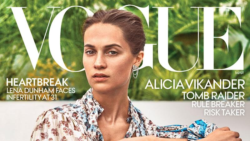 The 29-year-old actress covers the March issue of 'Vogue' magazine.