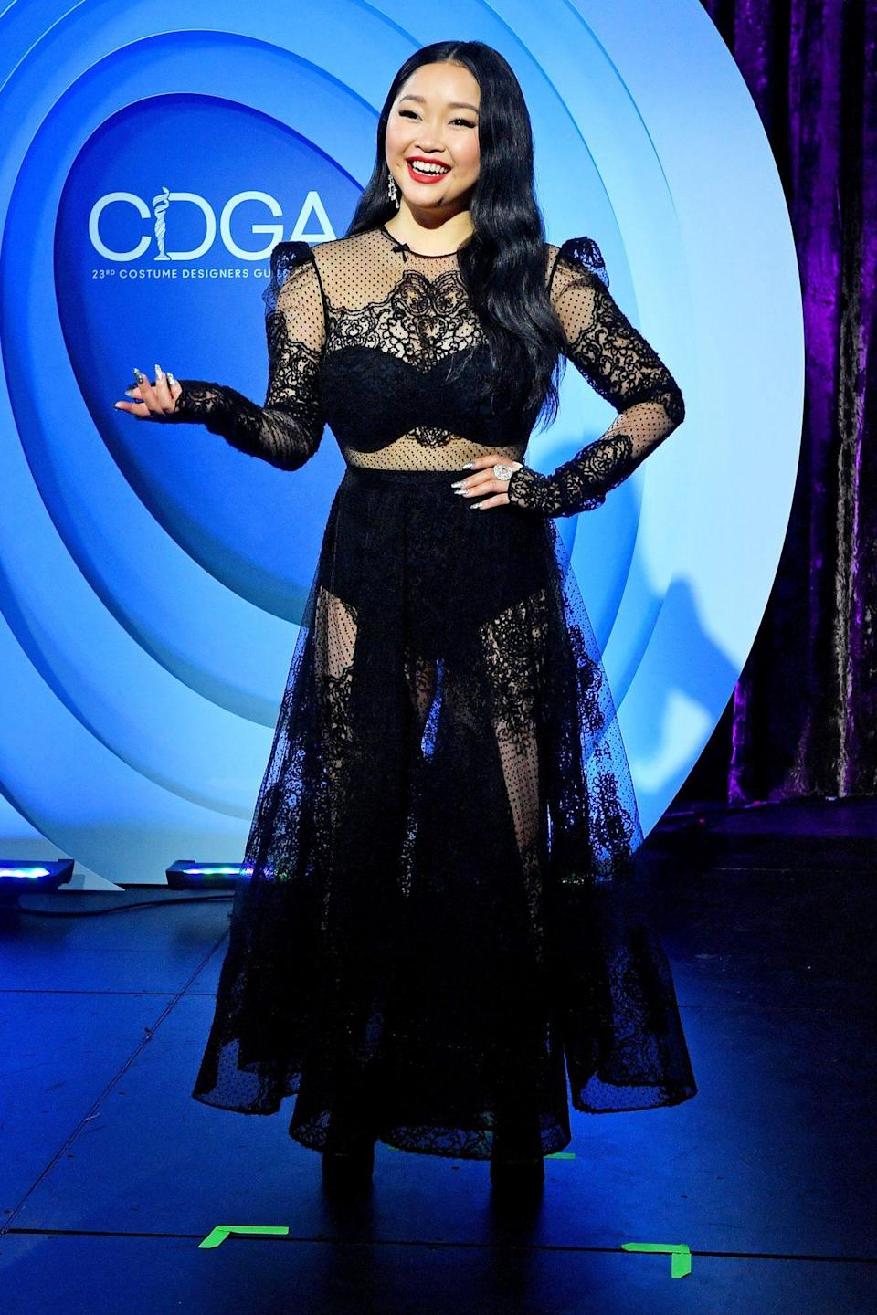 <p>Lana Condor stuns in black lace at the 23rd Costume Designer Guild Awards in L.A. on Tuesday.</p>